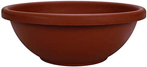 Akro Mils GAB12000E35 Garden Bowl with Removable Drain Plugs, Clay Color, 12-Inch
