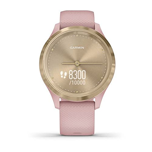 Garmin vivomove 3s, Smaller-sized Hybrid Smartwatch with Real Watch Hands and Hidden Touchscreen Display, Light Gold with Rose Case and Band