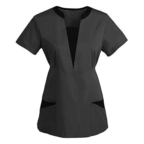 SOYOU Tunique de Travail Femme, Blouse Uniforme Col en V Manches Courtes Tunic Tops avec Poches Femmes Haut Ample