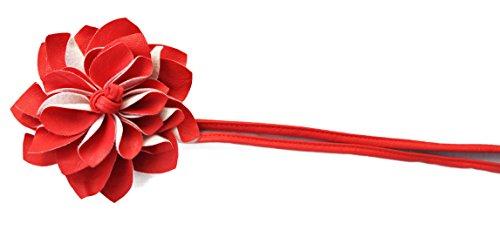 PRETTYSHOP Gürtel Hüftgürtel Wickelgürtel Leder Look mit extravaganter Blumen diverse Farben (himbeere)