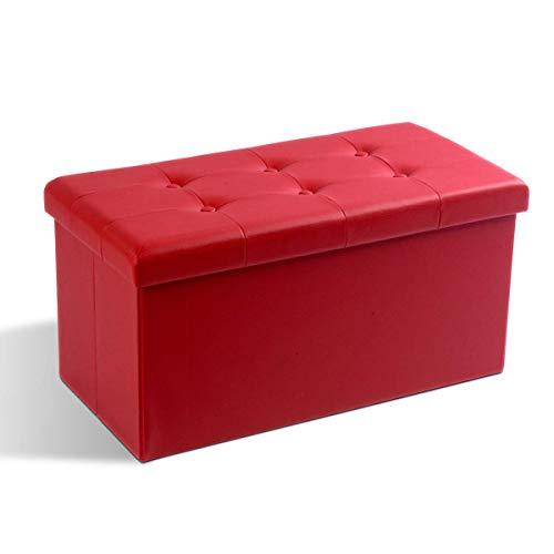 Theo&Cleo Leder Sitzhocker mit Stauraum 76 x 38 x 38 cm Faltbar Fußbank Truhen Aufbewahrungsbox(Rot)