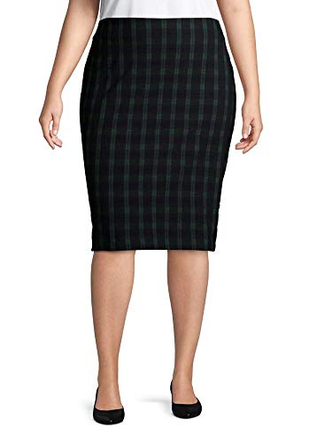 Lord & Taylor Plaid-Print Pencil Skirt Plus Size 24W Navy Green Plaid