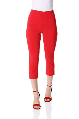 Roman Originals - Pantalones para Mujer, elásticos, cortos a 3/4 de longitud, para trabajo, de bengalina, para oficina, pantalones capri, ámbito formal e informal, leggings Negro rosso 40