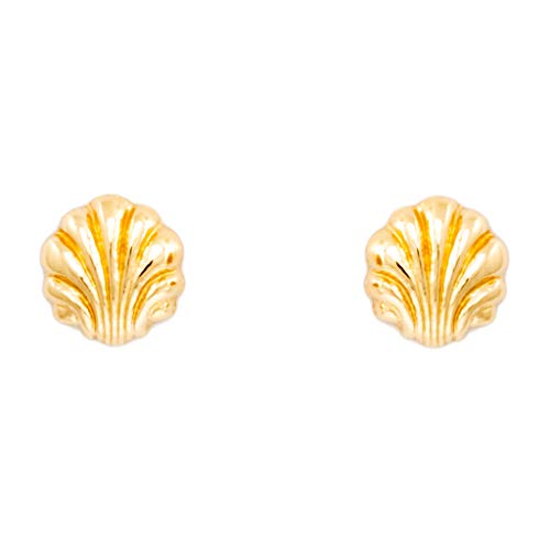Pendientes de concha de oro amarillo (375/1000)