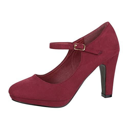Elara Damen Pumps Riemchen High Heels Vintage Chunkyrayan BL692-PM Wein-36
