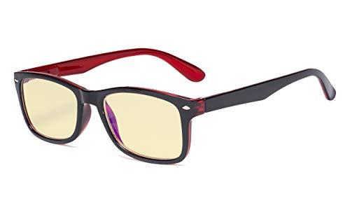 Eyekepper Blaulichtblockierung Computerbrille Damen Herren mit gelb getönter Filterglas - Klassische Brillen - Schwarz Rot +0.50