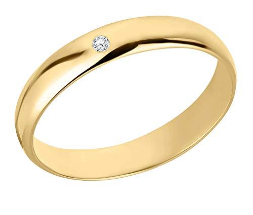 Ardeo Aurum Damenring Trauring aus 375 Gold mit 0,02 ct Diamant Brillant 4 mm Breite massiv Ehering Größe 56
