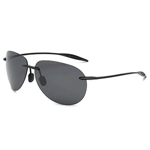 Gosunfly Gafas de sol polarizadas para hombre Gafas de sol cuadradas sin montura Gafas de sol para exteriores Gafas de moda-Negro frame_Gray flakes