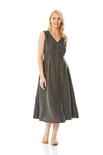Roman Originals Vestido midi de lino con botones a través de botones para mujer, casual, diario, verano, ropa de trabajo, ajuste inteligente y con cuello en V sin mangas