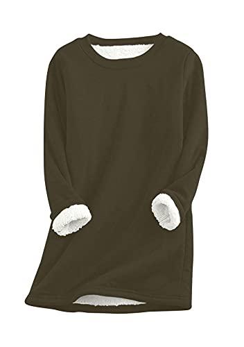 YMING Suéter de felpa caliente de las señoras de la sudadera de cuello redondo suéter de la manga...