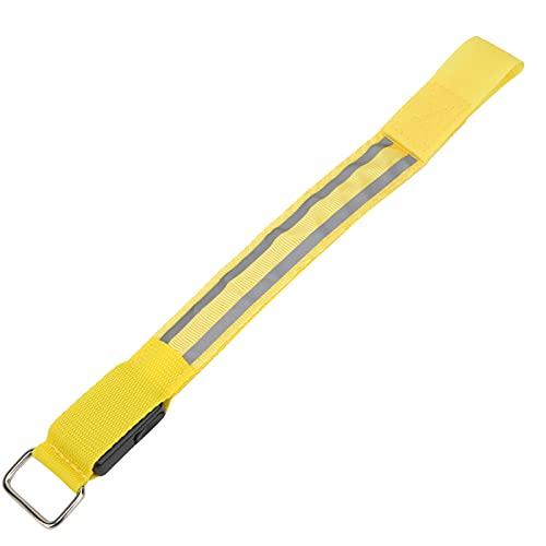 Pinsofy Correas de Cinta reflectora, Brazalete LED para Correr Fácil de Usar Ligero Ajustable con Tiras Reflectantes Dobles para Caminar de Noche, Andar en Bicicleta y Correr(Yellow)