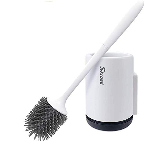 Toilet Brush and Holder, Soft Silicone Bathroom Toilet Cleaning Brush Set Elephant (Wall Mounted-2 Pack)
