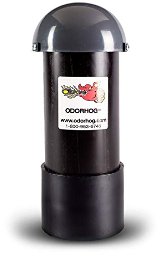 OdorHog Vent Stack Pipe Filter 4.0', Black ABS with Mushroom Cap, Removes Outdoor Septic and Sewer Odor