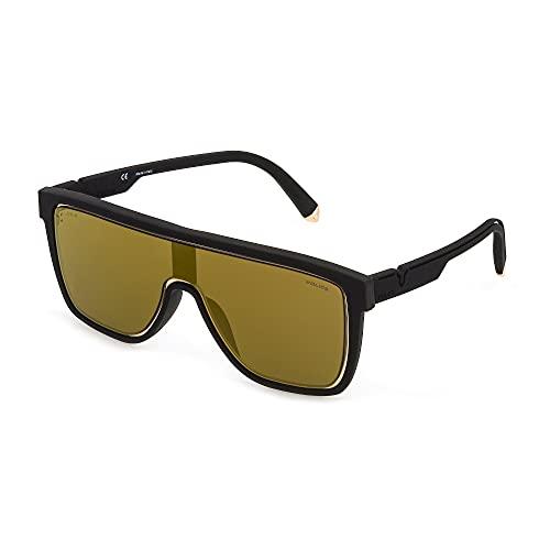 Police Lewis 23 SPLC51 6AAG 99-0-150 - Gafas de sol unisex, color negro con revestimiento de goma, lentes marrón y dorado