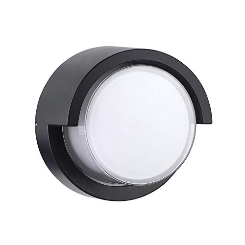 Apliques de pared Fijo LED de aluminio IP65 a prueba de agua caliente 12W pared de luz blanca moderna iluminación al aire libre ligero de la pared Negro (paquete de 2)