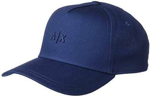 AX Armani Exchange - Gorro Bordado con Logotipo pequeño para Hombre, Azul/Gris, Talla única