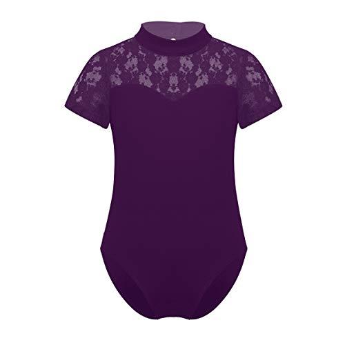 Hjbds Ballett-Trikotanzug Costome for Kinder Mädchen Gymnastik Trikot Badeanzug for Tanzen-Ballerina Tutu Kinderballett Leotard Tanzkleidung (Color : Dark Purple, Size : XL)