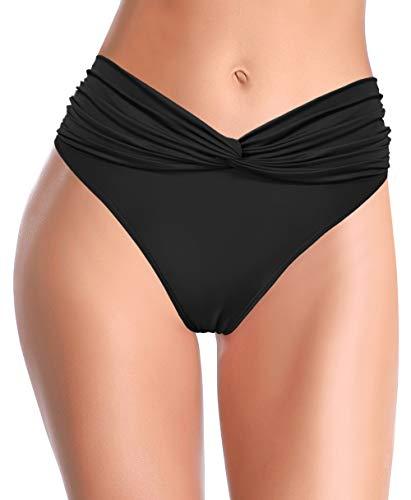 SHEKINI Braguitas De Bikini De Cintura Alta para Mujer BañAdor con Cintura Fruncida Braguita con PuñOs (Negro, M)