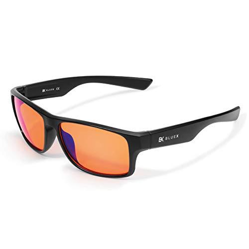 BlueX - Gafas para Gaming con Filtro de Luz Azul 100% - Relajantes para PC, Videojuegos y TV – Anti-reflejantes – Bloquean la Luz Azul de las Pantallas