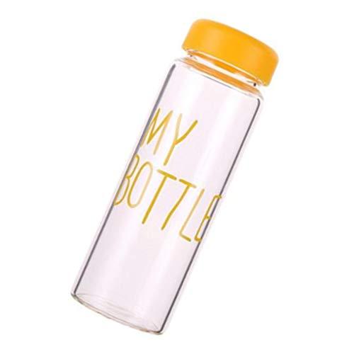 Gankmachine 420ml transparentes Wasser Cup Students Letters Muster-Sommer-Flasche mit nach Hause im Freien beweglichen Cup