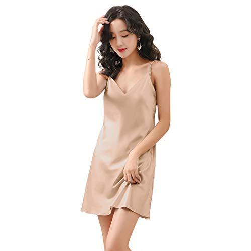 Miqieer Satin Nightshirts Sexy Nightdress Spaghetti Strap Negligee Nightgown Chemise Slip with Deep V Neck