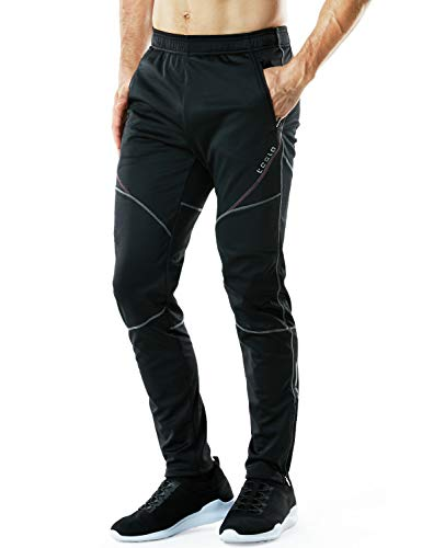 TSLA Men's Windproof Cycling Thermal Fleece Winter Pants Running Hiking Cold Active Bottoms Sweats, Cycling Windpants(ykb01) - Black & Grey & Red, Large (Waist 32.5-35 Inch)