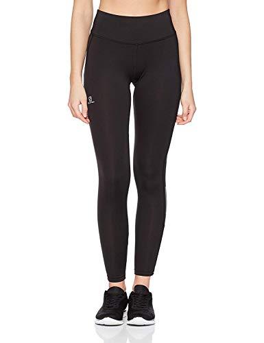 Salomon Mallas para running, agile long tight, tejido de punto, negro, mujer, talla: L