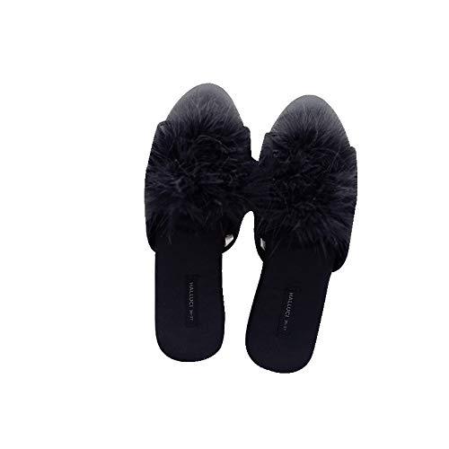 Zapatos caseros zapatillas de interior Mujeres Peep-Toe Piel sexy en casa zapatillas 2020 lindos clásicos clásicos dulces mulas Dormitorio Dormitorio antideslizante Slides Bed House Shoes memoria acog
