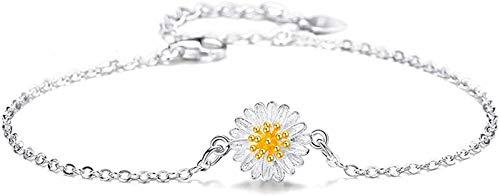 Plztou S925 Silver Bracelet Classic Chrysanthemum Bracelet Adjustable Bangle for Women Fashion Korean Version Attract Lucky And Beautiful