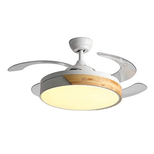 Ventilateur de plafond lumière chambre salon salle à manger ventilateur lumière simple maison moderne télécommande ventilateur électrique lustre ( Color : Blanc , Size : 107*107*12.5cm(42*42*17 in) )