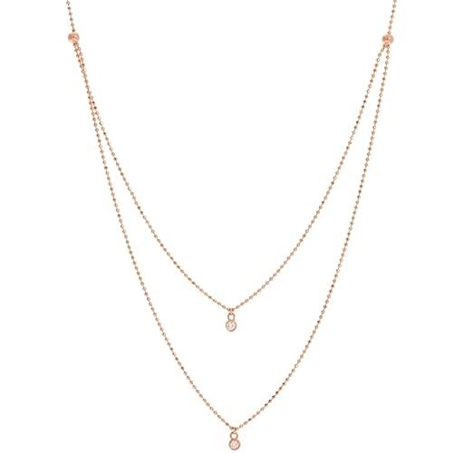 Collar ajustable de oro rosa de 14 quilates con 2 diamantes de 0,06 Dwt de doble hebra, regalo de joyería para mujeres – 46 centímetros