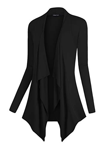 Urban CoCo Womens Drape Front Open Cardigan Long Sleeve Irregular Hem (L, Black)