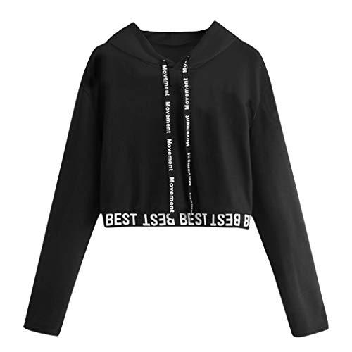 Covermason Les Femmes à la Mode Court Sweat à Capuche Hooded Sports Sport Occasionnels Sweat-Shirt Lettres Impression à Manches Longues Pull Tops Chemisier Elegant Pull Streetwear (L, Noir)