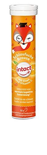 intact Schlaufuchs Brausetabletten - 15 Stk, Eisen und Vitamin C für Kinder, mit leckerem Orangengeschmack auf Traubenzuckerbasis, 75 g