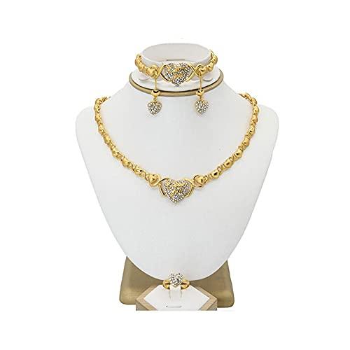 XiaoG Dubai 24k Color de Oro Joyas Juego de joyería de Novia Boda Pendientes Grandes Pulsera Collar Anillo (Color : Gold)