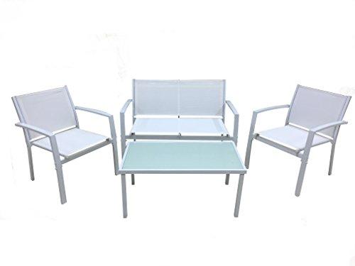 Michele Sogari & C. Srl Set da giardino in metallo e texilene 4 pezzi con divano 2 poltrone e tavolino con top vetro temperato (bianco)