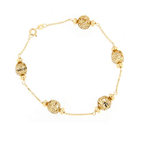 Lucchetta - Gioielli Bracciale Donna in Oro 18 carati, Elementi Ovali Trama Foglie Oro Giallo 5.30 grammi 18cm, 3AC1919