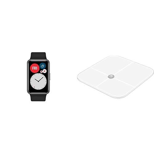 """HUAWEI Watch FIT Montre Connectée, Boitier en Métal, Écran AMOLED de 1.64"""", 10 Jours D'Autonomie, GPS Intégré, Capteur de Fréquence Cardiaque Noir + Pèse-Personne Intelligent, Blanc"""