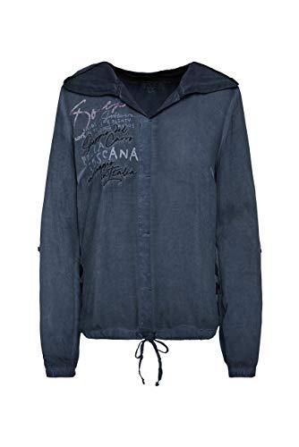 SOCCX Damen Bluse mit Kapuze und Streifenprint hinten