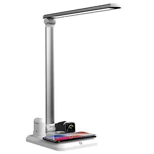 Lámpara de escritorio LED, lámparas de mesa que cuidan la vista con cargador inalámbrico Control táctil Lámpara de oficina regulable con puerto de carga USB 3 modos de iluminación y 3 niveles de brill