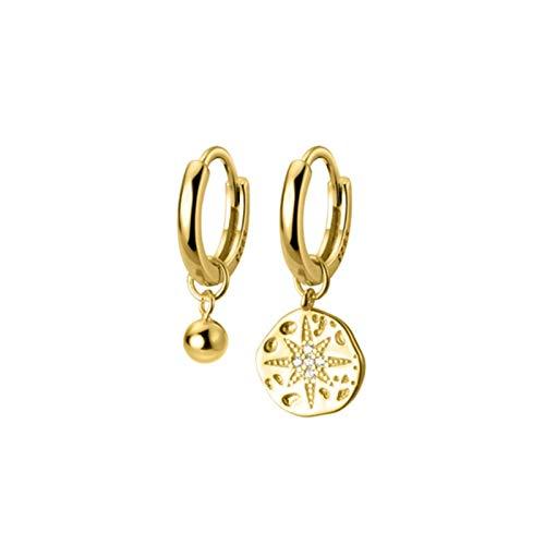 QIN 925 Anillo de Plata esterlina Pendientes de aro asimétricos para Mujer Color Oro Color de Color aretes
