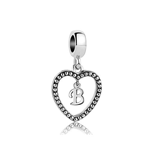 SBI Jewelry Silver Initial Letter Charm for Bracelet B Dangle Charm Heart Pendant Gift for Wife Daughter Girlfrind Birthday