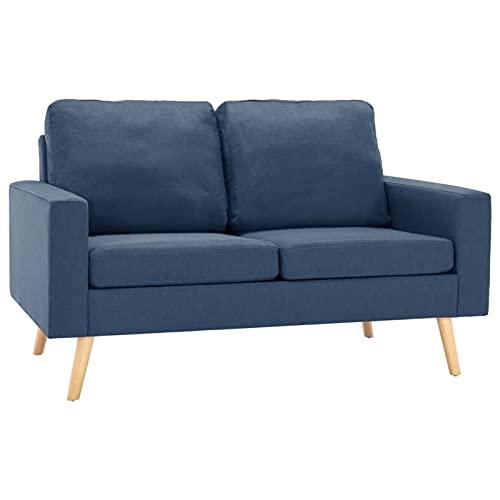 Gawany Sofá de 2 Plazas Sofá de Salón Sofá de Interior de Tela Azul 130 x 76 x 82,5 cm