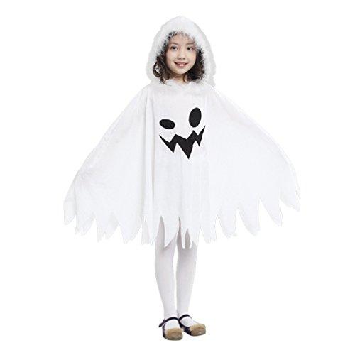 Gift Tower Halloween Kostüm Weiß Ghost Umhang Cape mit Kapuze Mädchen Gespenster Mantel mit Kappe für Karneval Fasching Cosplay (Weiß, 4-6 Jahre)