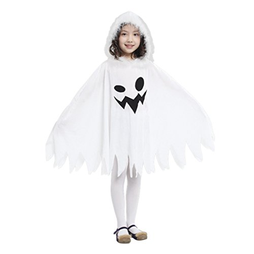Jimall Girls Halloween Costumes Ghost Scary Fanny Dress 4-6 Years White