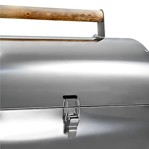 31bKCwbu7iS. SL500  - TecTake Edelstahl BBQ Grill mit großer Doppelgrillfläche Holzkohlegrill Grilltonne Silber
