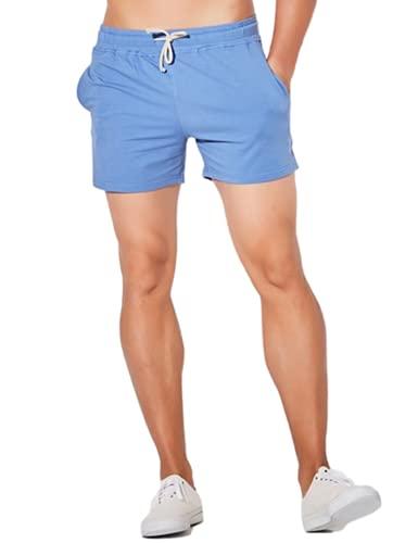 SeekMe Men's Cotton 5' Lounge Shorts Elastic Waist Pocket Jogger Workout Sweat Short(0124-Blue-XS-FY)