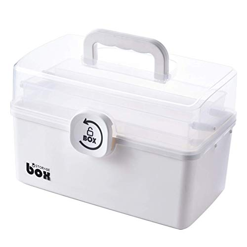 First Aid Kit, 3/2 Layer Portable First Aid Kit Storage Box, Plastic Multi-Functional Family Emergency Kit Box with Handle
