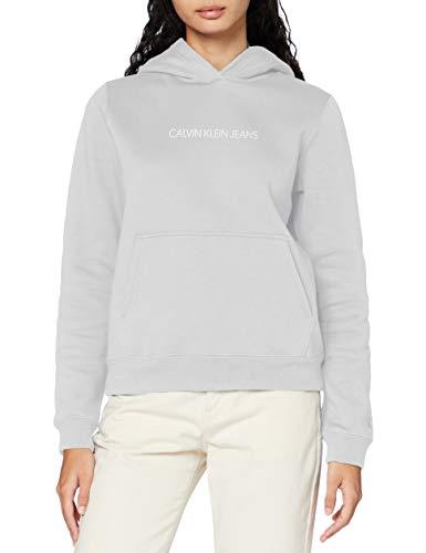 Calvin Klein Shrunken Inst Reg Hoodie Maglione, Antique Grey, L Donna