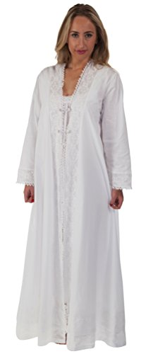 The 1 for U 100% Cotton Ladies Robe/Gown Housecoat - Rosalind (XXL) White